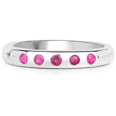 LoveHuang 0.23 Carats Genuine Ruby Stacking Ring Solid .925 Sterling Silver With Rhodium Plating