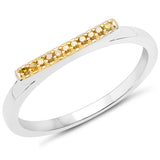 LoveHuang 0.05 Carats Genuine Yellow Diamond (I-J, I2-I3) Layer Ring Solid .925 Sterling Silver With Rhodium Plating