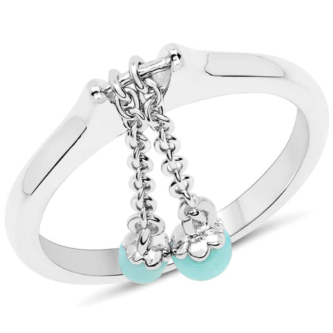 LoveHuang 0.36 Carats Genuine Amazonite Dangling Ring Solid .925 Sterling Silver With Rhodium Plating