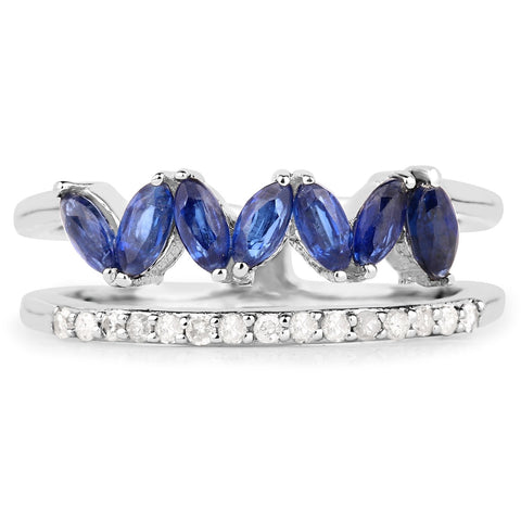 LoveHuang 1.00 Carats Genuine Kyanite and White Diamond (I-J, I2-I3) Floral Ring Solid .925 Sterling Silver With Rhodium Plating
