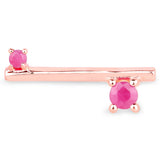 LoveHuang 0.34 Carats Genuine Ruby Handle Bar Ring Solid .925 Sterling Silver With 18KT Rose Gold Plating