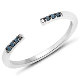 LoveHuang 0.04 Carats Genuine Blue Diamond (I-J, I2-I3) Open Stacking Ring Solid .925 Sterling Silver With Rhodium Plating