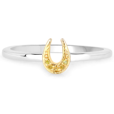LoveHuang 0.02 Carats Genuine Yellow Diamond (I-J, I2-I3) Horseshoes Ring Solid .925 Sterling Silver With Rhodium Plating