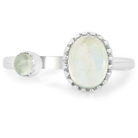 LoveHuang 1.65 Carats Genuine Prehnite Ring Solid .925 Sterling Silver With Rhodium Plating