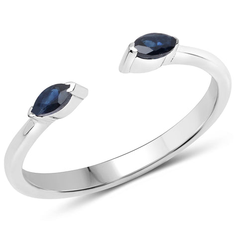LoveHuang 0.16 Carats Genuine Blue Sapphire Stacking Ring Solid .925 Sterling Silver With Rhodium Plating