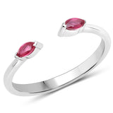 LoveHuang 0.17 Carats Genuine Ruby Stacking Ring Solid .925 Sterling Silver With Rhodium Plating