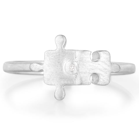 LoveHuang 0.01 Carats Genuine White Diamond (I-J, I2-I3) Minimalist Puzzle Ring Solid .925 Sterling Silver With Rhodium Plating