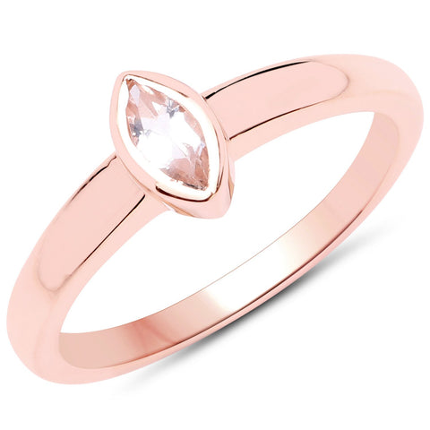 LoveHuang 0.22 Carats Genuine Morganite Marquise Bezel Ring Solid .925 Sterling Silver With 18KT Rose Gold Plating
