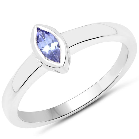 LoveHuang 0.22 Carats Genuine Tanzanite Marquise Bezel Ring Solid .925 Sterling Silver With Rhodium Plating