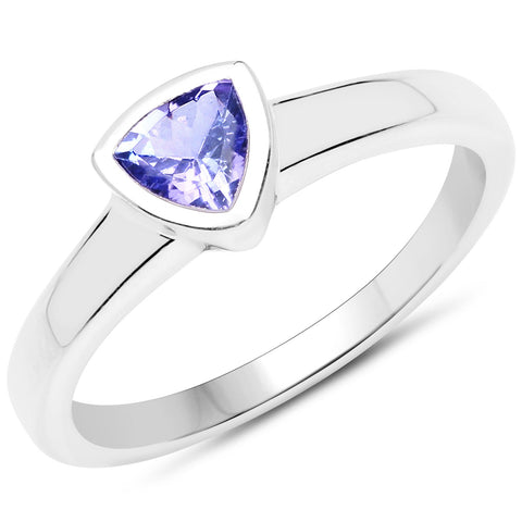 LoveHuang 0.39 Carats Genuine Tanzanite Trillion Bezel Ring Solid .925 Sterling Silver With Rhodium Plating