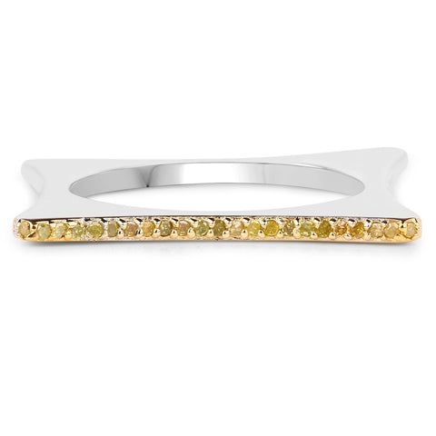 LoveHuang 0.09 Carats Genuine Yellow Diamond (I-J, I2-I3) Minimalist Square Ring Solid .925 Sterling Silver With Rhodium Plating