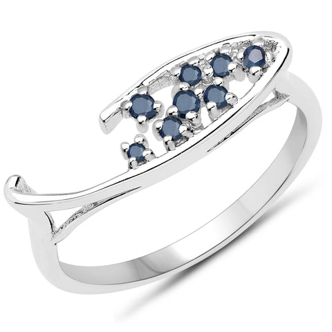 0.17 Carat Genuine Blue Sapphire .925 Sterling Silver Ring