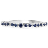 LoveHuang 0.44 Carats Genuine Blue Sapphire Stacking Ring Solid .925 Sterling Silver With Rhodium Plating