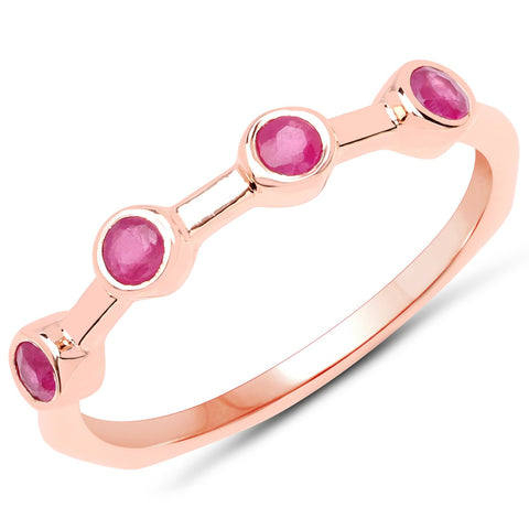 LoveHuang 0.27 Carats Genuine Ruby Art Deco Ring Solid .925 Sterling Silver With 18KT Rose Gold Plating