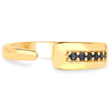 LoveHuang 0.11 Carats Genuine Blue Sapphire Ring Solid .925 Sterling Silver With 18KT Yellow Gold Plating
