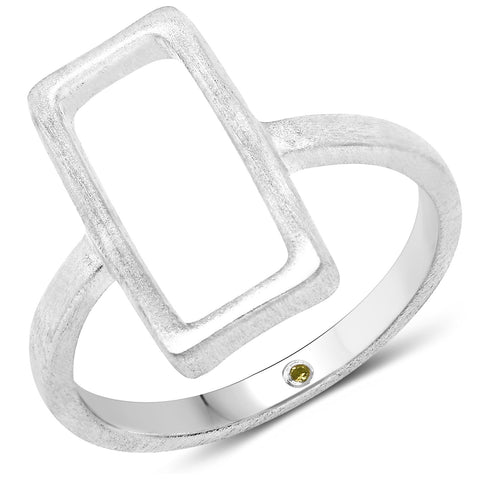 LoveHuang 0.01 Carats Genuine Yellow Diamond (I-J, I2-I3) Minimalist Rectangle Ring Solid .925 Sterling Silver With Rhodium Plating, Matte Finish