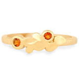 LoveHuang 0.09 Carats Genuine Madeira Citrine Minimalist Ring Solid .925 Sterling Silver With 18KT Yellow Gold Plating