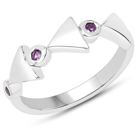 LoveHuang 0.09 Carats Genuine Amethyst Arrowhead Ring Solid .925 Sterling Silver With Rhodium Plating
