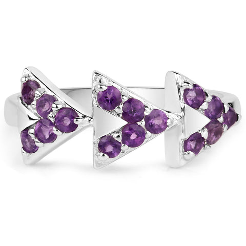 LoveHuang 0.41 Carats Genuine Amethyst Arrowhead Ring Solid .925 Sterling Silver With Rhodium Plating