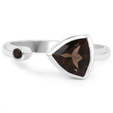 LoveHuang 0.93 Carats Genuine Smoky Quartz Trillion Ring Solid .925 Sterling Silver With Rhodium Plating