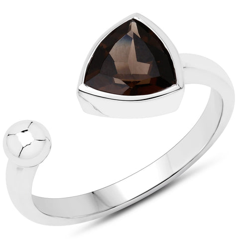 LoveHuang 0.90 Carats Genuine Smoky Quartz Trillion-Ball Ring Solid .925 Sterling Silver With Rhodium Plating