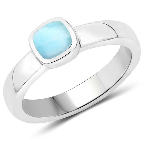 LoveHuang 0.86 Carats Genuine Larimar Cushion Ring Solid .925 Sterling Silver With Rhodium Plating