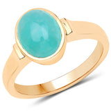 LoveHuang 1.76 Carats Genuine Amazonite Oval Bezel Ring Solid .925 Sterling Silver With 18KT Yellow Gold Plating