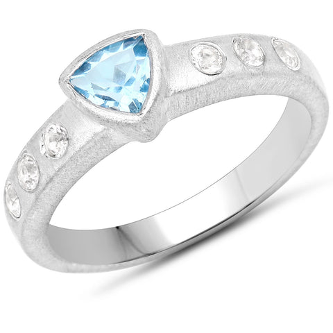 LoveHuang 0.65 Carats Genuine Blue Topaz and White Topaz Matte Finish Ring Solid .925 Sterling Silver With Rhodium Plating