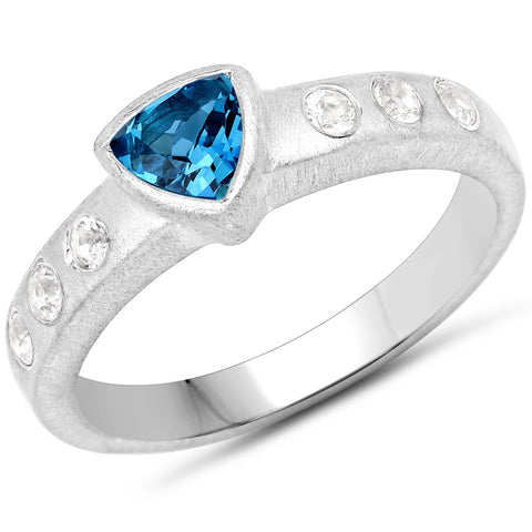 LoveHuang 0.67 Carats Genuine London Blue Topaz Trillion Matte Finish Ring Solid .925 Sterling Silver With Rhodium Plating