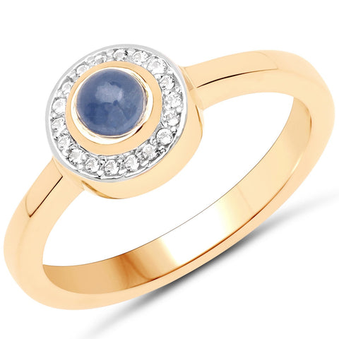 LoveHuang 0.54 Carats Genuine Blue Sapphire and White Topaz Halo Eye Ring Solid .925 Sterling Silver With 18KT Yellow Gold Plating