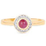 LoveHuang 0.45 Carats Genuine Ruby and White Topaz Ring Solid .925 Sterling Silver With 18KT Yellow Gold Plating