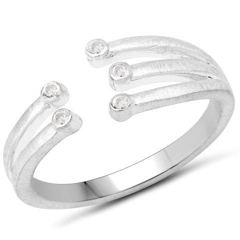 LoveHuang 0.02 Carats Genuine White Diamond (I-J, I2-I3) Minimalist Branch Ring Solid .925 Sterling Silver With Rhodium Plating, Matte Finish