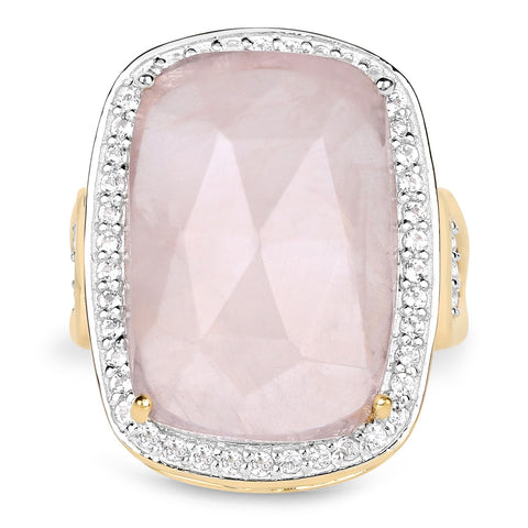 LoveHuang 12.21 Carats Genuine Rose Quartz and White Topaz Statement Ring Solid .925 Sterling Silver With 18KT Yellow Gold Plating
