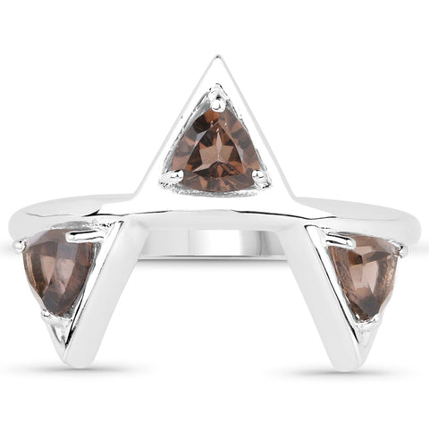 LoveHuang 0.81 Carats Genuine Smoky Quartz Trillion Ring Solid .925 Sterling Silver With Rhodium Plating