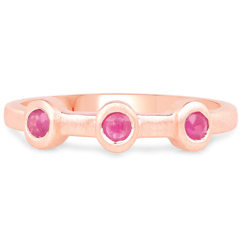 LoveHuang 0.21 Carats Genuine Ruby Three Stone Ring Solid .925 Sterling Silver With 18KT Rose Gold Plating, Matte Finish