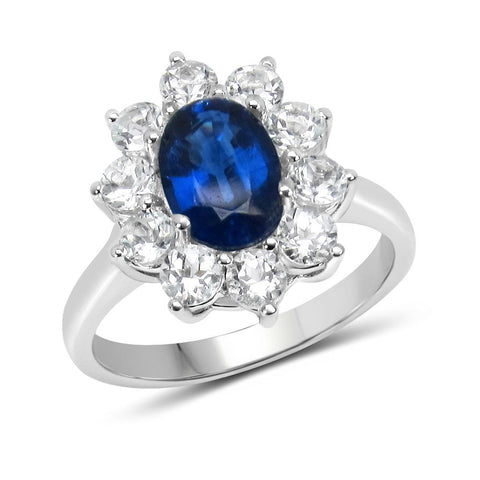 LoveHuang 2.43 Carats Genuine Kyanite and White Topaz Princess Ring Solid .925 Sterling Silver With Rhodium Plating