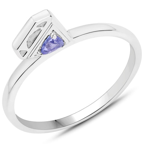 LoveHuang 0.09 Carats Genuine Tanzanite Diamond Icon Ring Solid .925 Sterling Silver With Rhodium Plating