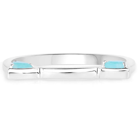 LoveHuang 0.22 Carats Genuine Amazonite Cat Ears Ring Solid .925 Sterling Silver With Rhodium Plating