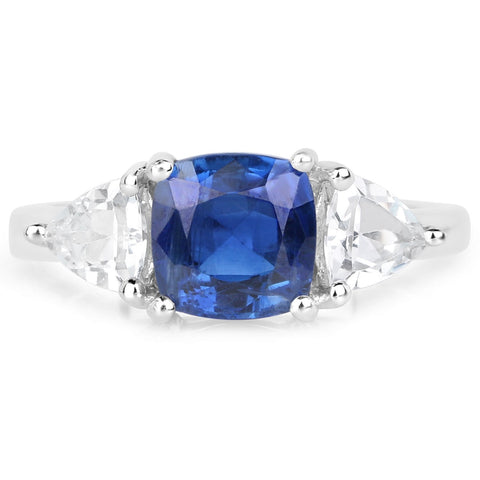LoveHuang 3.07 Carats Genuine Kyanite and White Topaz Ring Solid .925 Sterling Silver With Rhodium Plating
