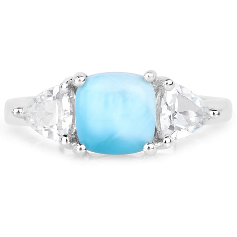 LoveHuang 2.43 Carats Genuine Larimar and White Topaz Ring Solid .925 Sterling Silver With Rhodium Plating