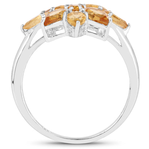 2.18 Carat Genuine Citrine .925 Sterling Silver Ring