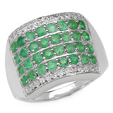 0.96 Carat Genuine Emerald .925 Sterling Silver Ring