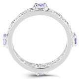 0.68 Carat Genuine Tanzanite .925 Sterling Silver Ring