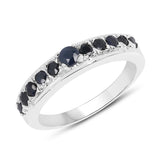 0.57 Carat Genuine Blue Sapphire .925 Sterling Silver Ring