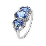 1.75 Carat Genuine Tanzanite .925 Sterling Silver Ring
