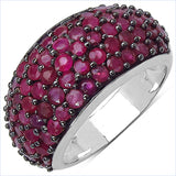 3.58 Carat Genuine Ruby & White Diamond .925 Sterling Silver Ring