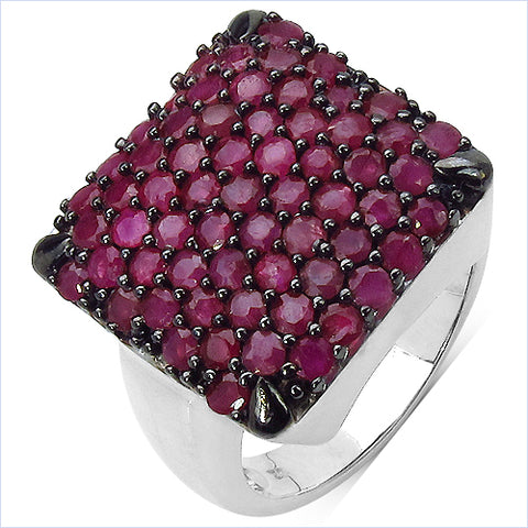 3.15 Carat Genuine Ruby .925 Sterling Silver Ring