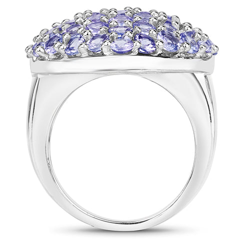 3.11 Carat Genuine Tanzanite .925 Sterling Silver Ring
