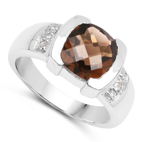 2.52 Carat Genuine Smoky Quartz and White Topaz .925 Sterling Silver Ring