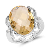 10.42 Carat Genuine Citrine and White Topaz .925 Sterling Silver Ring